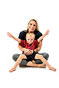 Fitness trainer Shana Verstegen and her son, Greyson, are pictured in a studio portrait in Madison, Wis., on July. 21, 2019. (Photo by Jeff Miller, www.jeffmillerphotography.com)