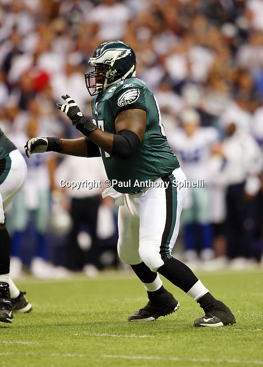 IRVING, TX - SEPTEMBER 15:  Center Jamaal Jackson #67 of the Philadelphia Eagles pass blocks during the game against the Dallas Cowboys at Texas Stadium on September 15, 2008 in Irving, Texas. The Cowboys defeated the Eagles 41-37. ©Paul Anthony Spinelli *** Local Caption *** Jamaal Jackson