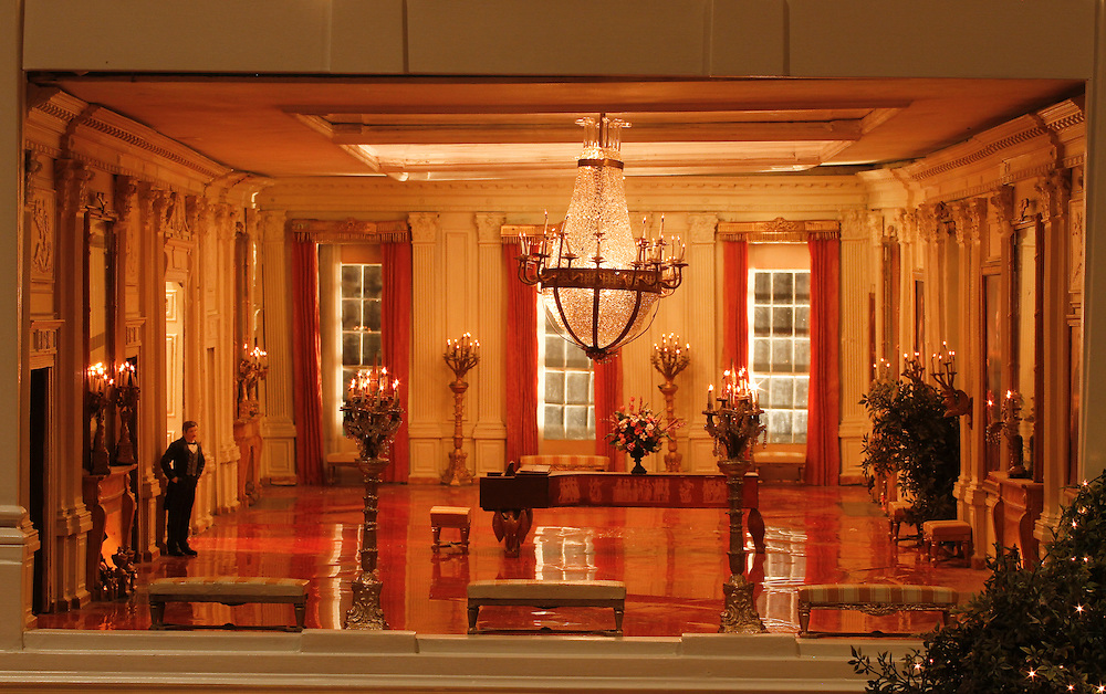 A scale model of the real White House is on display at the Reagan Library in Simi Valley, California. This is The East Room