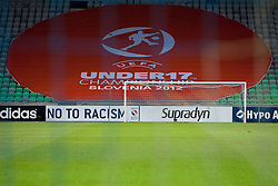 UEFA logo during the UEFA European Under-17 Championship Final match between Germany and Netherlands on May 16, 2012 in SRC Stozice, Ljubljana, Slovenia. (Photo by Urban Urbanc / Sportida.com)