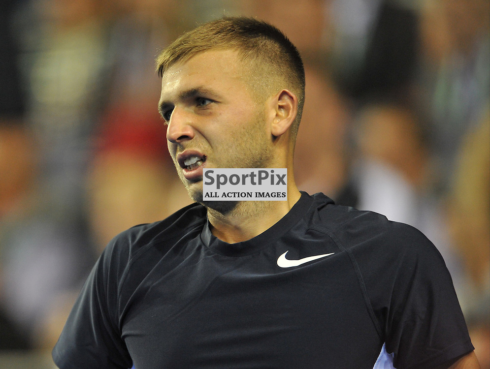 Despair for Dan Evans as he loses to Bernard Tomic during the Great Britain v Australia, Semi Finals,  Aegeon Davis Cup by BNP Paribas, Friday 18 September 2015 (c) Angie Isac   SportPix.org.uk