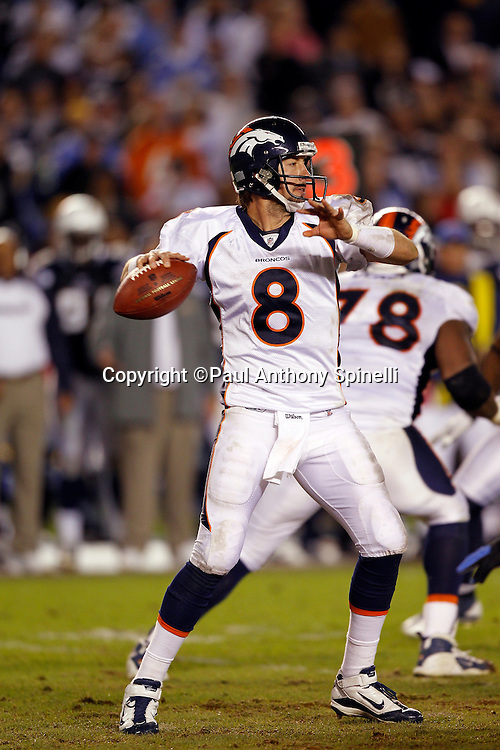 Denver Broncos quarterback Kyle Orton (8) throws a pass during the NFL week 11 football game against the San Diego Chargers on Monday, November 22, 2010 in San Diego, California. The Chargers won the game 35-14. (©Paul Anthony Spinelli)