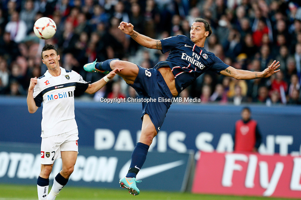 FOOTBALL - FRENCH CHAMPIONSHIP 2012/2013 - L1 - PARIS SAINT GERMAIN VS SOCHAUX - 29/09/2012 - ZLATAN IBRAHIMOVIC (PARIS SAINT-GERMAIN), SEBASTIEN CORCHIA (SOCHAUX)
