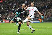 Tottenham Hostpur defender Jan Vertonghen (5) tackling Real Madrid attaker Cristiano Ronaldo (7) during the Champions League match between Tottenham Hotspur and Real Madrid at Wembley Stadium, London, England on 1 November 2017. Photo by Matthew Redman.