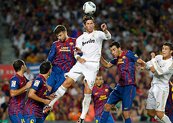 17.08.2011, Camp Nou, Barcelona, ESP, Supercup 2011, FC Barcelona vs Real Madrid, im Bild FC Barcelona's Javier Mascherano, Xavi Hernandez, Gerard Pique, Daniel Alves and Sergio Busquets and Real Madrid's Sergio Ramos and Cristiano Ronaldo during Spanish Supercup 2nd match.August 17,2011. EXPA Pictures © 2011, PhotoCredit: EXPA/ Alterphotos/ Acero +++++ ATTENTION - OUT OF SPAIN / ESP +++++