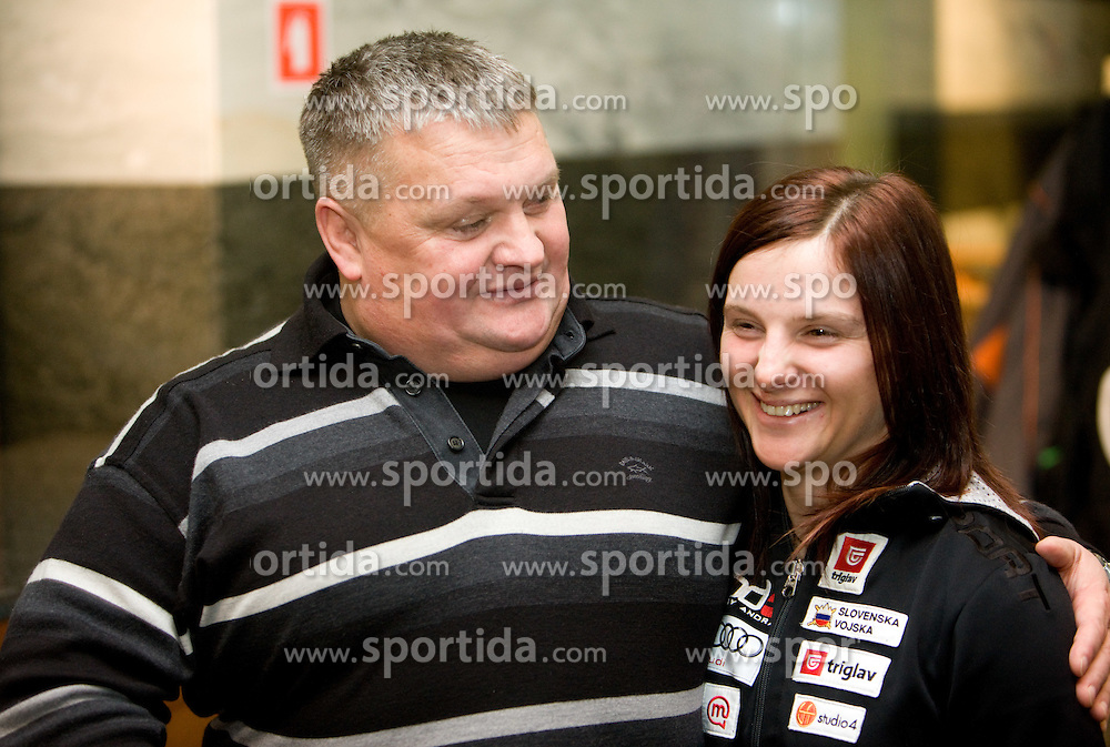 Sasa Faric with her father at press conference when Zavarovalnica Triglav sign a sponsorship contract with Slovenian 4-cross skier Sasa Faric, on January 14, 2010 in Ljubljana, Slovenia. (Photo by Vid Ponikvar / Sportida)