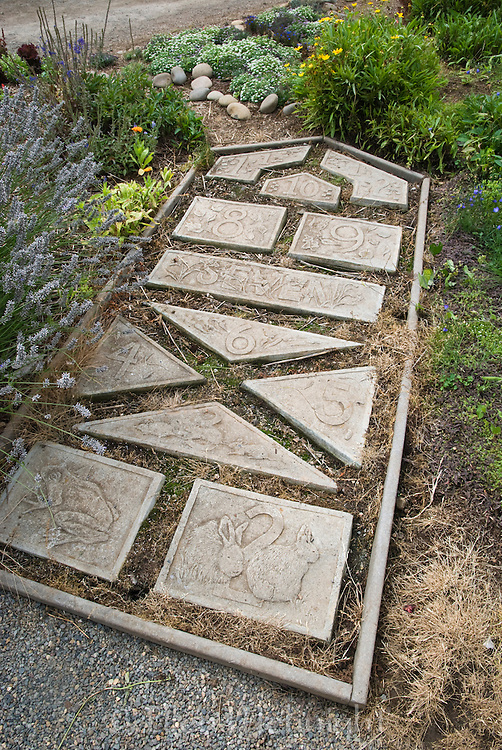 CHILDREN'S HOPSCOTCH BOARD MADE OF STONE TILES