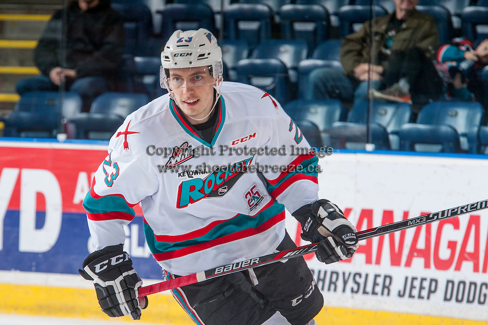 KELOWNA, CANADA - FEBRUARY 27: Justin Kirkland #23 of Kelowna Rockets skates against the Spokane Chiefs on February 27, 2016 at Prospera Place in Kelowna, British Columbia, Canada.  (Photo by Marissa Baecker/Shoot the Breeze)  *** Local Caption *** Justin Kirkland;