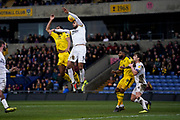 Ryan Tafazolli of Peterborough United defends the ball during the EFL Sky Bet League 1 match between Oxford United and Peterborough United at the Kassam Stadium, Oxford, England on 16 February 2019.