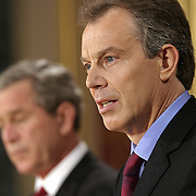 Pres. Bush and the Prime Minister of the United Kingdom Tony Blair attend a news conference at the Foreign Office Thursday, November 20, 2003, in London.  ..Photo by Khue Bui
