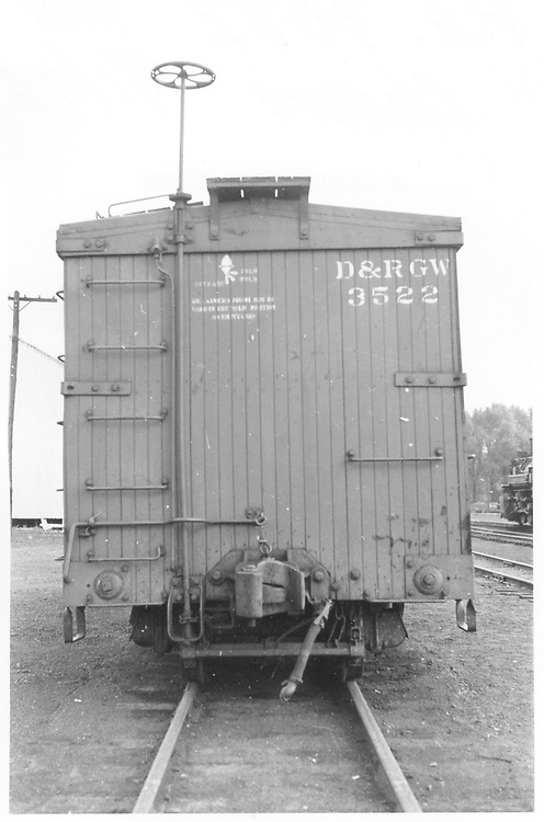 """B"" end view of box car #3522 at Chama.<br /> D&RGW  Chama, NM  Taken by Maxwell, John W. - 9/1/1946"
