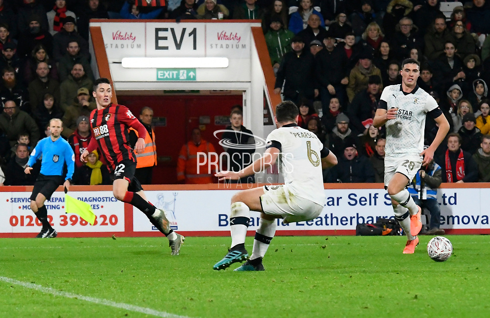 Harry Wilson (22) of AFC Bournemouth crosses the call for Callum Wilson (13) of AFC Bournemouth to score during the The FA Cup match between Bournemouth and Luton Town at the Vitality Stadium, Bournemouth, England on 4 January 2020.