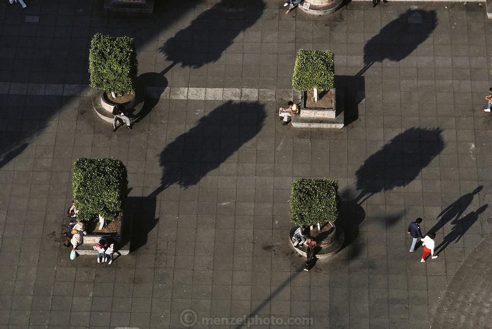Aerial of a section of the plaza by the cathedral in Guadalajara, Mexico.