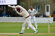 Wicket - Matt Renshaw of Somerset is bowled by Jack Brooks of Yorkshire during the third day of the Specsavers County Champ Div 1 match between Somerset County Cricket Club and Yorkshire County Cricket Club at the Cooper Associates County Ground, Taunton, United Kingdom on 29 April 2018. Picture by Graham Hunt.