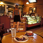 Pie and cappucino at coffee house, Port Townsend, Washington<br />