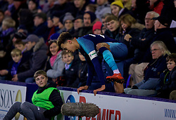 BIRKENHEAD, ENGLAND - Friday, January 4, 2019: Tottenham Hotspur's captain Dele Alli climbs back up to the pitch after falling into the crowd during the FA Cup 3rd Round match between Tranmere Rovers FC and Tottenham Hotspur FC at Prenton Park. (Pic by David Rawcliffe/Propaganda)