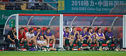 NANNING, CHINA - Thursday, March 22, 2018: Wales' hat-trick hero sits with his team-mates after his three goals helped his side to a 6-0 victory over China after the opening match of the 2018 Gree China Cup International Football Championship between China and Wales at the Guangxi Sports Centre. Equipment manager David Griffiths, James Chester, Joe Allen, Adam Matthews, Billy Bodin, Sam Vokes, Connor Roberts, Ryan Hedges, Ben Davies, Harry Wilson, goalkeeper Michael Crowe. (Pic by David Rawcliffe/Propaganda)
