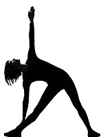 utthita trikonasana triangle pose position woman posture position in silhouette on studio white background