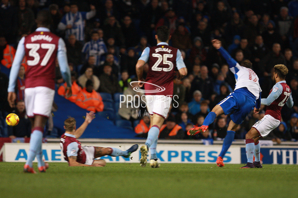 Brighton & Hove Albion centre forward Glenn Murray scores to make it 1-1 during the EFL Sky Bet Championship match between Brighton and Hove Albion and Aston Villa at the American Express Community Stadium, Brighton and Hove, England on 18 November 2016. Photo by Bennett Dean.