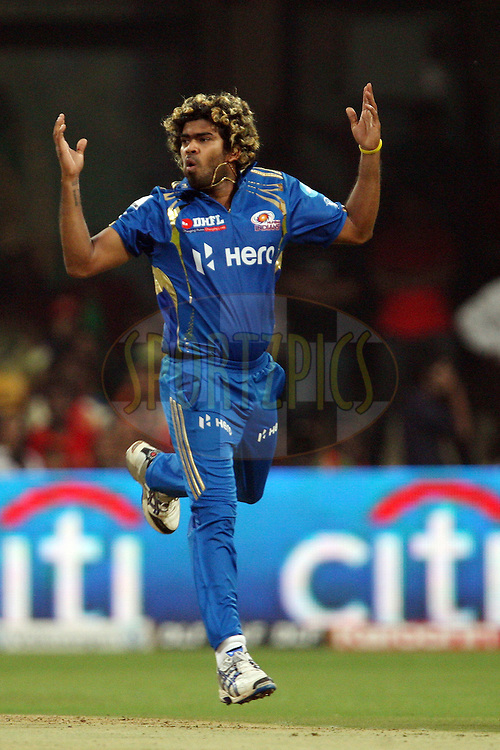 Lasith Malinga during match 62 of the the Indian Premier League ( IPL) 2012  between The Royal Challengers Bangalore and the Mumbai Indians held at the M. Chinnaswamy Stadium, Bengaluru on the 14th May 2012..Photo by Jacques Rossouw/IPL/SPORTZPICS