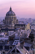 France. Paris. elevated view. Paris and the dome of the Val de Grace hospital. view from Saint Jacques du haut pas church bell tower.  Grace