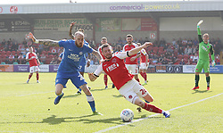 Marcus Maddison of Peterborough United in action with James Husband of Fleetwood Town - Mandatory by-line: Joe Dent/JMP - 19/04/2019 - FOOTBALL - Highbury Stadium - Fleetwood, England - Fleetwood Town v Peterborough United - Sky Bet League One