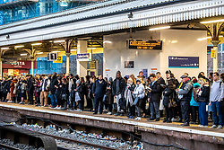 © Licensed to London News Pictures. 16/12/2019. London, UK. Commuters faced queues and delays at Clapham Junction this morning as a new National Rail winter timetable comes into effect along with the on going RMT strike on South West Rail services now in its third week. Photo credit: Alex Lentati/LNP