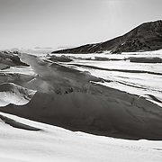 Ice pressure ridges near Scott Base, OB hill in background