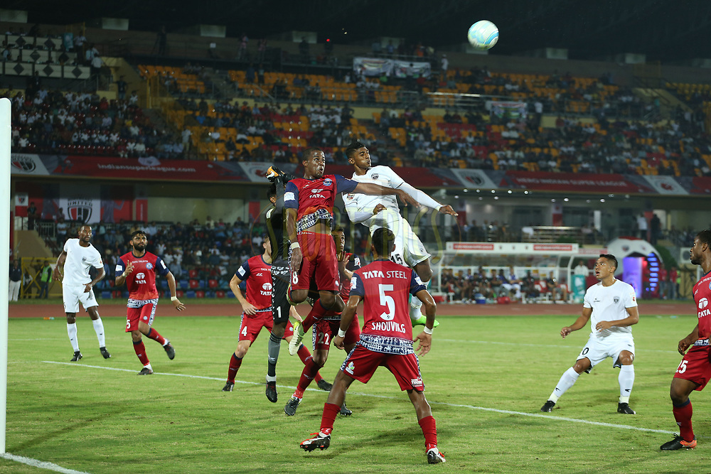 Subrata Paul (GK) of Jamshedpur FC punches clear during match 2 of the Hero Indian Super League between NorthEast United FC and Jamshedpur FC held at the Indira Gandhi Athletic Stadium, Guwahati India on the 18th November 2017<br /> <br /> Photo by: Ron Gaunt / ISL / SPORTZPICS