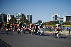 Tayler Wiles (USA), Allison Beveridge (CAN) and Lucy Kennedy (AUS) at Toward Zero Women's Race Melbourne 2019, a 63.6 km criterium in Melbourne, Australia on January 24, 2019. Photo by Sean Robinson/velofocus.com