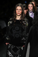 A model walks the runway wearing Vivienne Tam Fall 2016 during New York Fashion Week on February 15, 2016