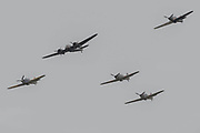 A Blenheim bomber accompanied by 6 Hurricanes - The Duxford Battle of Britain Air Show is a finale to the centenary of the Royal Air Force (RAF) with a celebration of 100 years of RAF history and a vision of its innovative future capability.