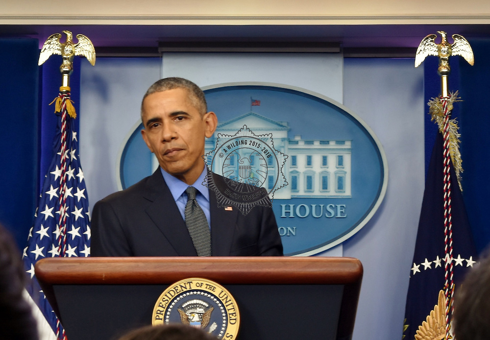 President Obama taking questions end of year Press Conference in the briefing room at the White House 2015. Friday 18th December, approx 2pm.©AWilding2015
