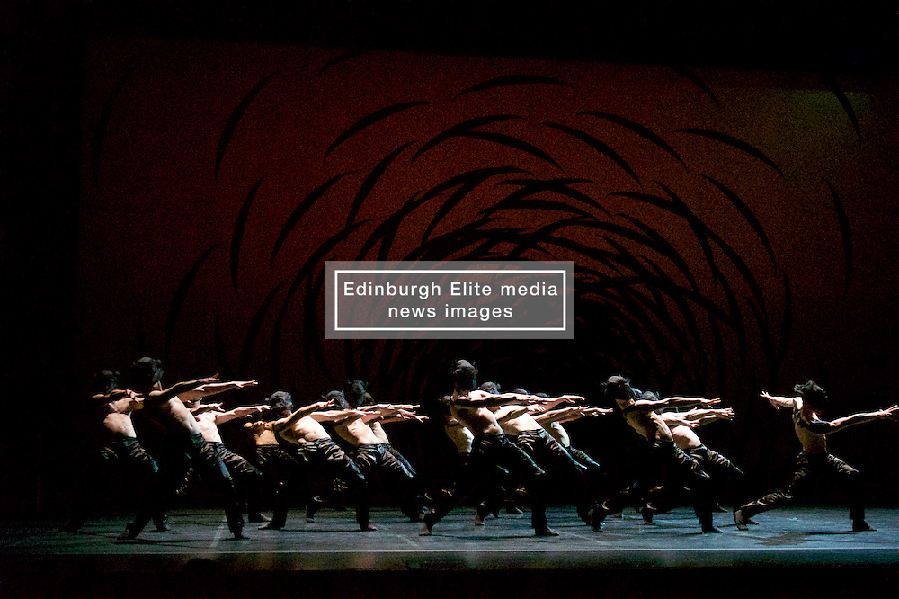 A 38-strong corps de ballet is transformed into a swarming, scurrying mass of insect-like creatures in the multi-award winning Emergence by Crystal Pite, which draws parallels between classical ballet's traditional hierarchies and the swarm intelligence of bees. Festival Theatre 18th August, 2016, (c) Brian Anderson   Edinburgh Elite media