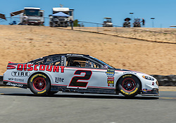 June 22, 2018 - Sonoma, CA, U.S. - SONOMA, CA - JUNE 22:  Brad Keselowski, driving the #(2) Ford for Team Penske speeds over the lip on turn 8 on Friday, June 22, 2018 at the Toyota/Save Mart 350 Practice day at Sonoma Raceway, Sonoma, CA (Photo by Douglas Stringer/Icon Sportswire) (Credit Image: © Douglas Stringer/Icon SMI via ZUMA Press)