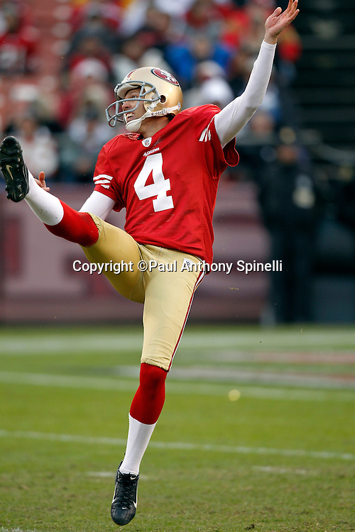 San Francisco 49ers punter Andy Lee (4) punts during the NFL week 17 football game against the Arizona Cardinals on Sunday, January 2, 2011 in San Francisco, California. The 49ers won the game 38-7. (©Paul Anthony Spinelli)
