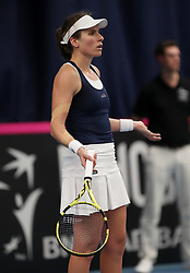 Great Britain's Johanna Konta in action against Maria Sakkari during day two of the Fed Cup at Bath University.