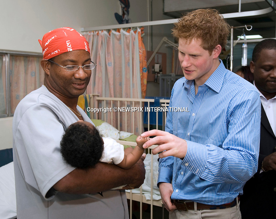 "PRINCE HARRY .meets Luc Jordan during his visit to the Queen Elizabeth ll Hospital in Bridgetown, Barbados_30/01/2010.Mandatory Credit Photo: ©DIAS-NEWSPIX INTERNATIONAL..**ALL FEES PAYABLE TO: ""NEWSPIX INTERNATIONAL""**..IMMEDIATE CONFIRMATION OF USAGE REQUIRED:.Newspix International, 31 Chinnery Hill, Bishop's Stortford, ENGLAND CM23 3PS.Tel:+441279 324672  ; Fax: +441279656877.Mobile:  07775681153.e-mail: info@newspixinternational.co.uk"