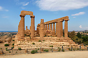 General view of the Temple of Juno or Hera Lacinia, c.450 BC, Agrigento, Sicily, Italy,  pictured on September 11, 2009, in the morning. This temple was built on an artificial spur. Standing on a high rectangular platform above four steps its 34 fluted columns consist of four tamburi or drums and are each 6.32 meters high. Today, 30 columns are standing but only sixteen with their capitals. After being damaged in the fire of 406 BC it was restored in Roman times, and again in 1787 by the Prince of Torremuzza. The Valley of the Temples is a UNESCO World Heritage Site. Picture by Manuel Cohen.
