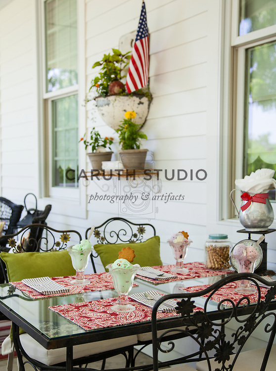 Ice Cream Social: Table and chairs on porch