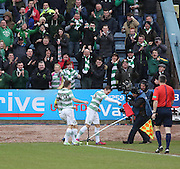 Knockout blow - Celtic&rsquo;s Stefan Johansen punches the corner flag after scoring - Dundee v Celtic, William Hill Scottish Cup fifth round at Dens Park <br /> <br /> <br />  - &copy; David Young - www.davidyoungphoto.co.uk - email: davidyoungphoto@gmail.com