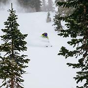 Crystal Wright skis storm powder in the Teton backcountry near Jackson Hole Mountain Resort, Teton Village, Wyoming.