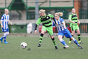 Forest Green's Kirsty Richardson on the ball during the FA Women's Premier League match between Forest Green Rovers Ladies and Brighton Ladies at the Hartpury College, United Kingdom on 24 January 2016. Photo by Shane Healey.