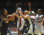 "Vanderbilt's Jordan Coleman (12), Mississippi's Courtney Marbra (25), and Vanderbilt's Hannah Tuomi (15) go for the ball at the C.M. ""Tad"" Smith Coliseum in Oxford, Miss. on Sunday, January 2, 2011. Mississippi won 72-67. (AP Photo/Oxford Eagle, Bruce Newman)"