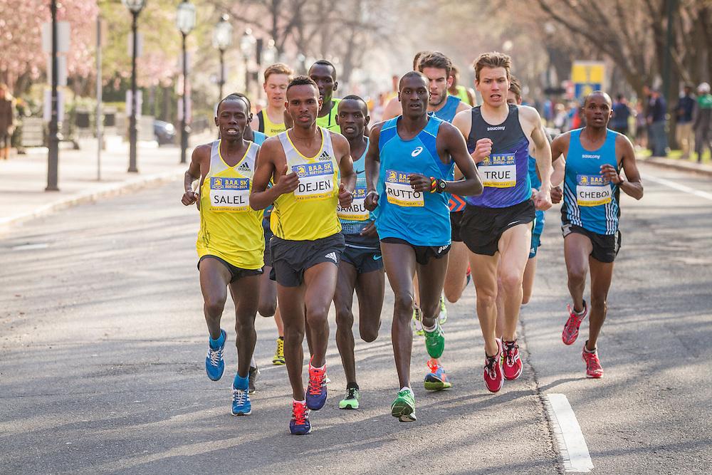 BAA 5K, lead pack of men, Gebremeskel, Rutto