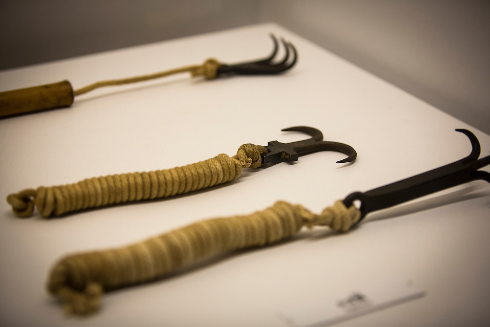 """TOKYO, JAPAN - JULY 2 : A ninja's weapon on display during a ninja exhibition that kicks off Saturday at Miraikan in Tokyo, Japan on July 2, 2016. A special exhibition entitled """"The Ninja- who were they?"""" will be open from July 2 (Saturday), 2016 to October 10 (Monday) 2016 at the Miraikan (National Museum of Emerging Science and Innovation). Photo: Richard Atrero de Guzman"""