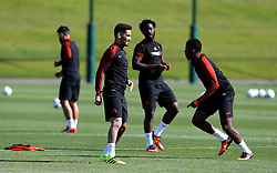 Ilkay Gundogan of Manchester City warms up with Wilfried Bony and Kelechi Iheanacho - Mandatory by-line: Matt McNulty/JMP - 23/08/2016 - FOOTBALL - Manchester City - Training session ahead of Champions League qualifier against Steaua Bucharest