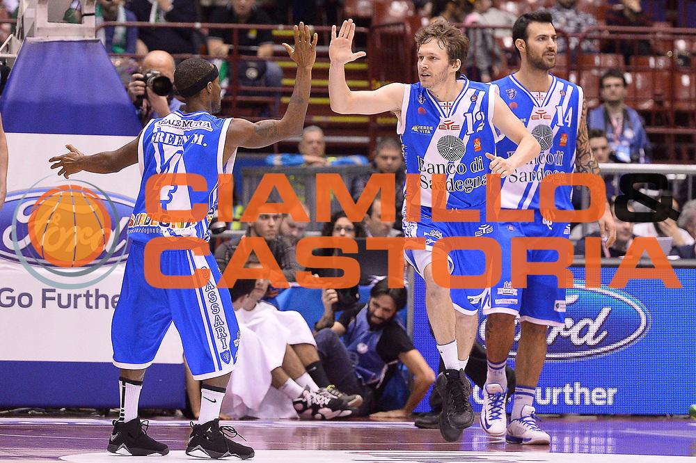 DESCRIZIONE : Milano Coppa Italia Final Eight 2014 Finale Montepaschi Siena Banco di Sardegna Sassari<br /> GIOCATORE : Marques Green Travis Diener<br /> CATEGORIA : Esultanza<br /> SQUADRA : Banco di Sardegna Sassari<br /> EVENTO : Beko Coppa Italia Final Eight 2014<br /> GARA : Montepaschi Siena Banco di Sardegna Sassari<br /> DATA : 09/02/2014<br /> SPORT : Pallacanestro<br /> AUTORE : Agenzia Ciamillo-Castoria/R.Morgano<br /> Galleria : Lega Basket Final Eight Coppa Italia 2014<br /> Fotonotizia : Milano Coppa Italia Final Eight 2014 Finale Montepaschi Siena Banco di Sardegna Sassari<br /> Predefinita :