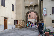 Pienza, Tuscany, Italy arched entrance to the old town