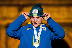 March 10, 2019 - –Stersund, Sweden - 190310 Dmytro Pidruchnyi of Ukraine celebrates with his gold medal at the medal ceremony for the Men's 12,5 km Pursuit Pursuit during the IBU World Championships Biathlon on March 10, 2019 in Östersund..Photo: Petter Arvidson / BILDBYRÃ…N / kod PA / 92256 (Credit Image: © Petter Arvidson/Bildbyran via ZUMA Press)